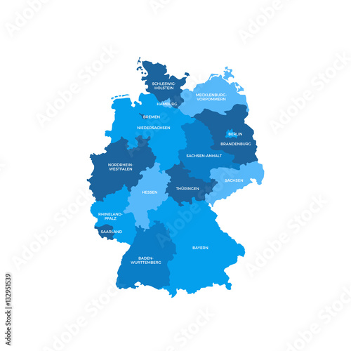 Germany Regions Map Wallpaper Mural