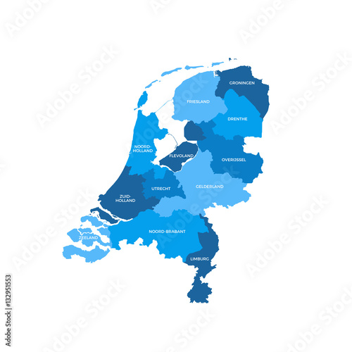 Netherlands Regions Map Canvas Print