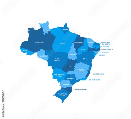 Obraz na plátně Brazil Regions Map