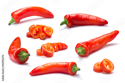Set of whole and chopped Hot wax or paprika pepper, paths