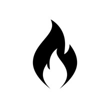 Fire Flame Icon. Black Icon Is...