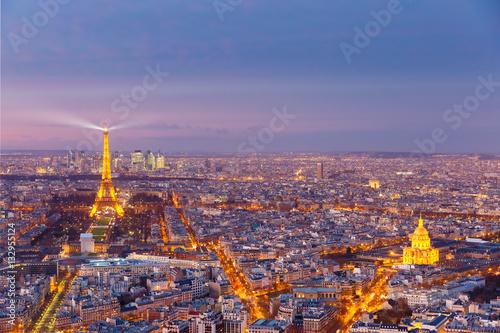 Poster Paris Night aerial panoramic of Paris skyline, France