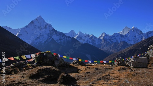 Photo  Mount Ama Dablam and prayer flags