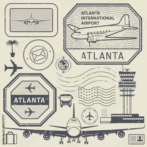 Fotografía  Retro postage USA airport stamps set, Atlanta theme