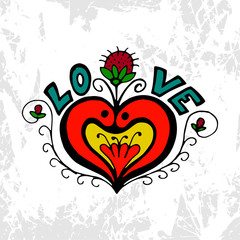 Love heart symbol with flower and strawberries