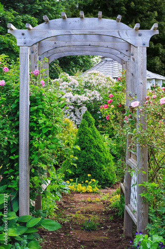 Rose arbor in a country garden. Poster Mural XXL