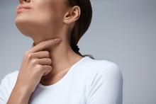 Throat Pain. Closeup Woman With Sore Throat, Painful Feeling