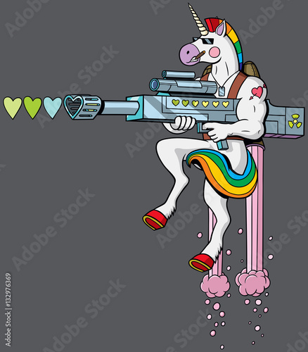 Fotografie, Obraz  Unicorn Soldier / Unicorn soldier character shooting hearts with his love gun