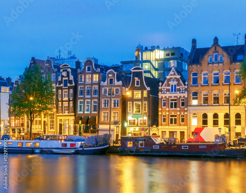 Poster Amsterdam Amsterdam. City Canal at dawn.