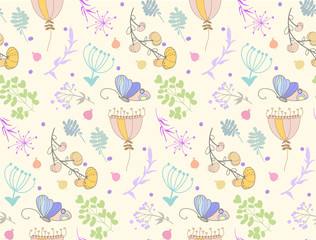 Fototapeta Vector design, floral seamless pattern with berries, leaves, flowers, butterflies. Soft colors