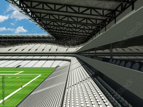 Photo sur Toile Stade de football 3D render of large American football stadium with white seats and open roof with VIP boxes