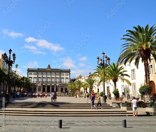 Santa Ana square with many visitors, Las Palmas of Gran canaria, Canary islands