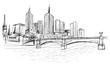 Panorama miasta Melbourne. Rysunek ręcznie rysowany na białym tle.