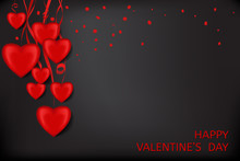Valentine's Day Card With Red Hearts With Ribbons And Confetti On A Black Background