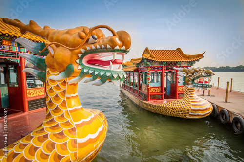 Printed kitchen splashbacks Peking Dragon boat on the Kunming Lake, Beijing, China