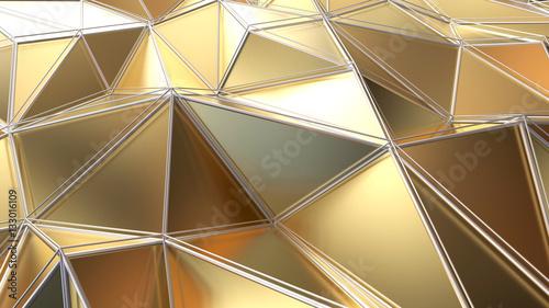 Gold polygonal Background. - 133016109