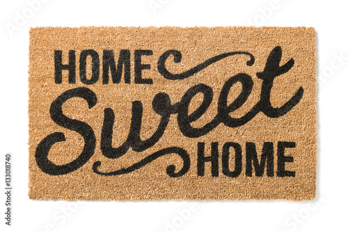 Fotografía  Home Sweet Home Welcome Mat Isolated on a White Background.