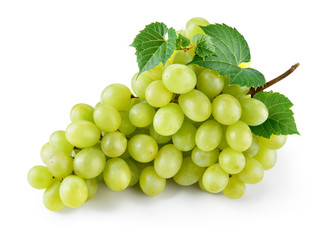 Green grape with leaves isolated on white. With clipping path. F