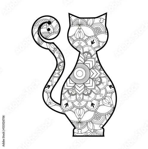 Vector Illustration Of A Stylized Cat Mandala For Coloring Book