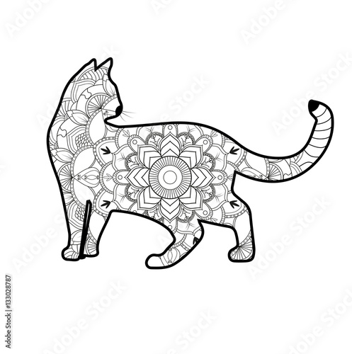 Vector Illustration Of A Mandala Cat For Coloring Book Antistress