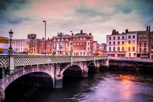 Historic Grattan Bridge over the River Liffey in Dublin Ireland at sunset Canvas Print