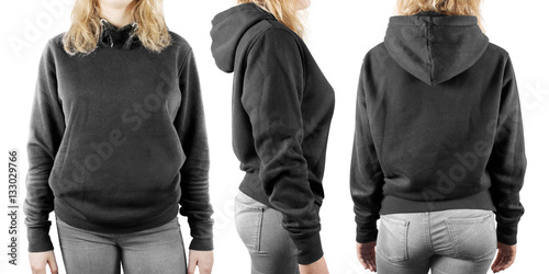 Blank black sweatshirt mock up set isolated, front, back ...
