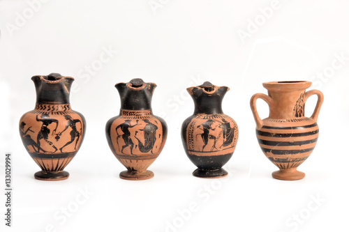 collection of original Greek vase from archaeological excavation