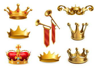 Gold crown of the king. 3d vector icon set