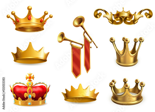 Gold crown of the king. 3d vector icon set Fotobehang