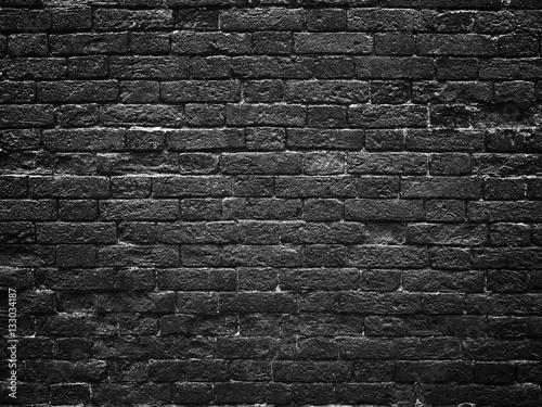 Foto op Plexiglas Old dark brick wall, texture background