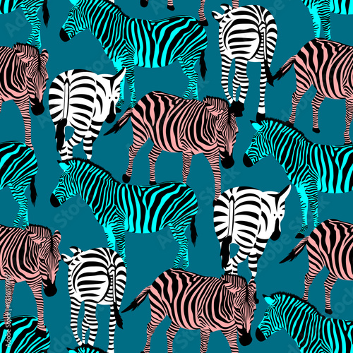 Cotton fabric Colorful zebra seamless pattern. Savannah Animal ornament. Wild animal texture. Striped black and colors. design trendy fabric texture, vector illustration.