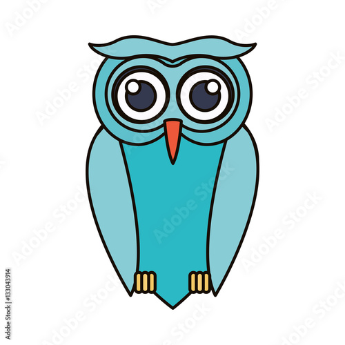Photo Stands Owl cartoon icon. Bird animal and nature theme. Isolated design. Vector illustration