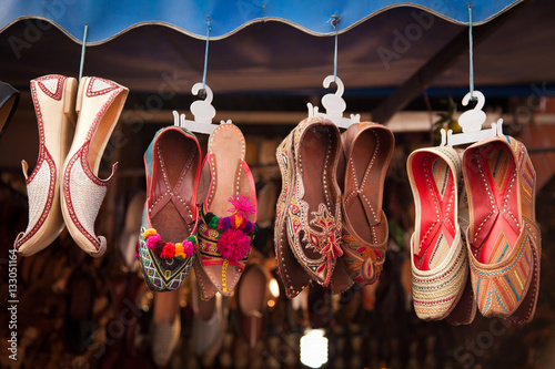 Photo  Colorful Shoes In An Indian Bazar