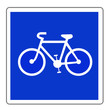 canvas print picture - Panneau routier en France :  Piste ou bande cyclable conseillée et réservée aux cycles à deux ou trois roues
