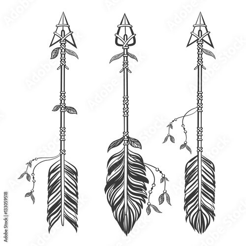 Photo sur Aluminium Style Boho Set Ethnic arrows with feathers. Boho style. Hand drawn vector illustration