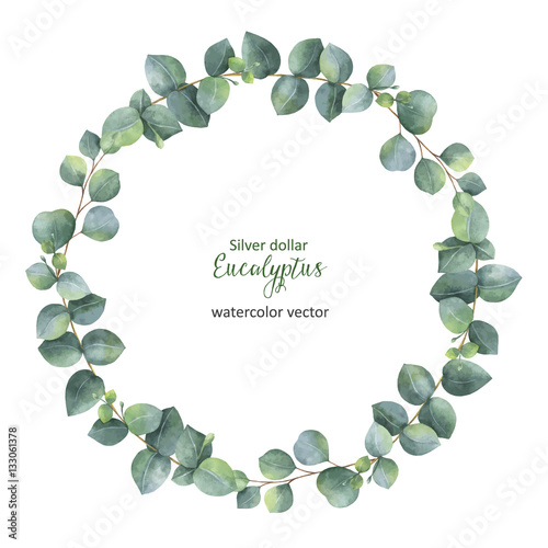 Photo  Watercolor vector round wreath with silver dollar eucalyptus.