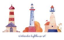 Watercolor Lighthouse Set. Han...