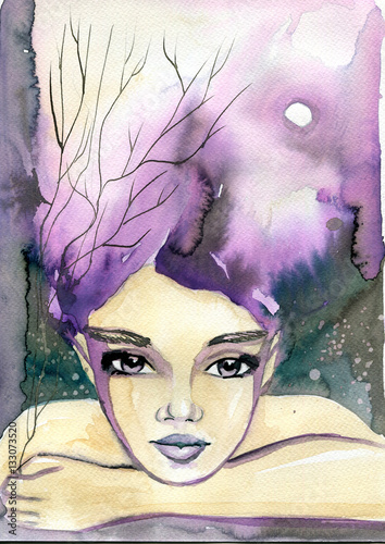 Photo sur Aluminium Inspiration painterly Watercolor portrait of a woman.