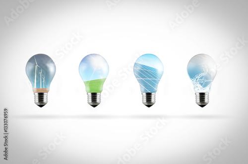 Row Of Light Bulbs With Renewable Energy Symbols Buy This Stock