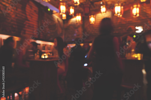 Blur pub and restaurant at night Canvas Print