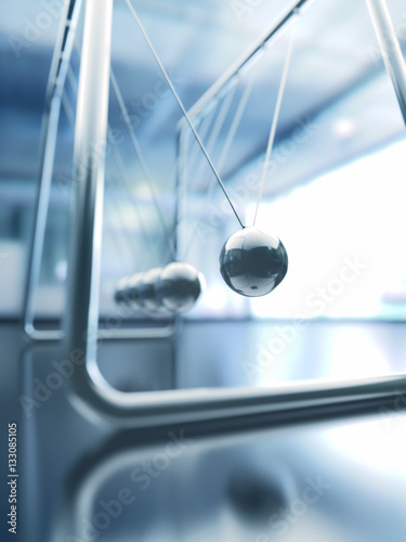3D illustration of Newton's cradle, concept of conservation of momentum and energy.