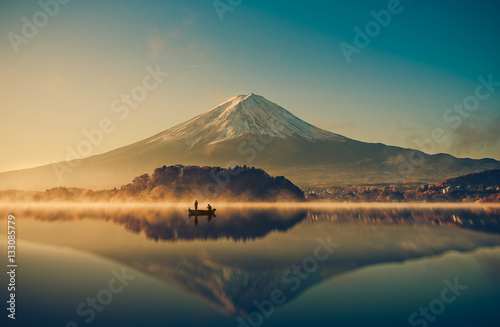 Mount fuji at Lake kawaguchiko,Sunrise , vintage Canvas-taulu