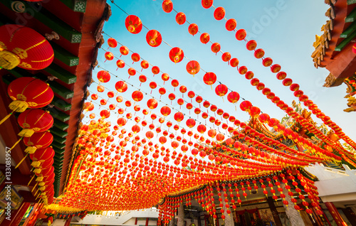 Red lanterns decorations at Thean Hou Temple in Kuala Lumpur, This is in preparation for the coming Chinese New Year. Malaysia