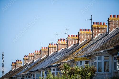Poster Stadion English row of houses with chimneys