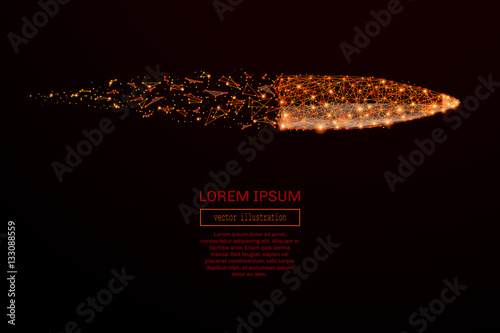 Foto Abstract mash line and point bullet in flames style on dark background with an inscription