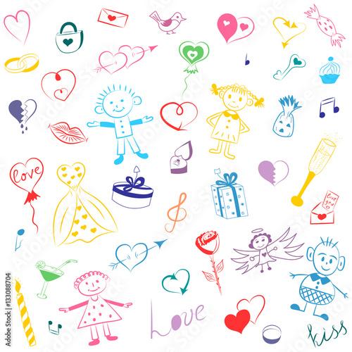 Colorful Hand Drawn Set Of Valentine S Day Symbols Children S Cute
