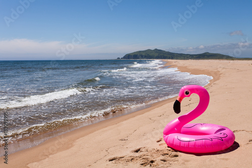 Foto op Aluminium Flamingo Inflatable pink flamingos on the desertted sand beach.