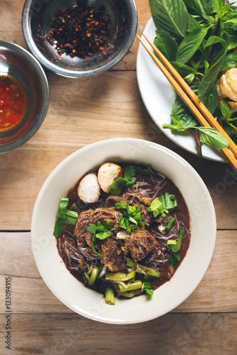 Valokuva  stewed pork and meatball noodle,thai food