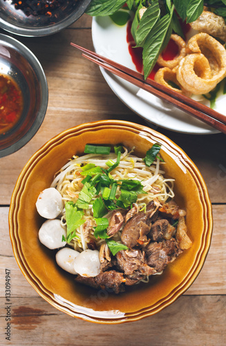 dried noodle with stewed pork and meatball,thai food Wallpaper Mural