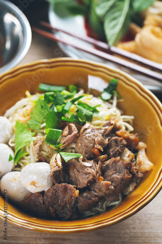 noodle with stewed pork and meatball,thai food Canvas Print